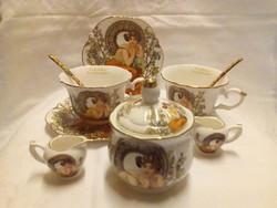 Angol kávés-teás készlet, Alfons Mucha dekorral