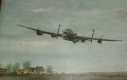 Nagyon ritka, szignózott német katonai repülős régi olajfestmény kerettel !