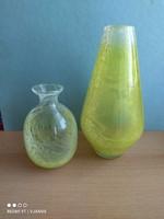 Karcagi fátyolüveg váza sárga