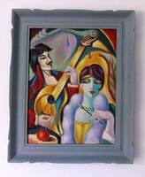 A trubadúr / art deco styl / Seres Sándor olaj festménye