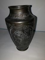 Gyönyörű antik bronz, távol-keleti váza, - 1 forintról, teljeskörű garanciával.