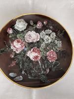 Álomszép gyűjtői rózsás porcelán dísztányér falra is akasztható