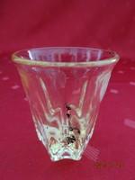 Üveg pálinkás kupica, sárga színű, magassága 5,5 cm. Vanneki!