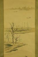 Csónak - japán akvarell festmény falitekercs
