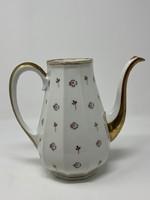 Kecses, elegáns Limoges porcelán teás kancsó virágdíszítéssel és aranyozással - Fedő nélkül - CZ