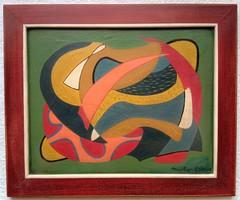 Szignózott absztrakt festmény