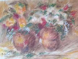 B. Altai Ilona: Virágcsendélet két vázára, jelzett pasztell, 1972