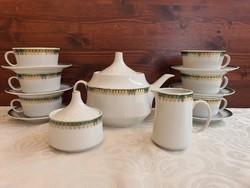 Alföldi zöld-arany mintás teás készlet