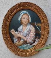Klasszikus női portré festmény szép ovális keretben
