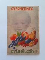 Régi képeslap gyümölcs propaganda levelezőlap