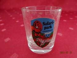 Üveg pálinkás kupica, Safari park - Ganserndorf felirattal és látképpel. Vanneki!