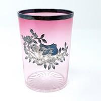 Ezüst rátétes, rózsaszín antik üvegpohár 1906 - CZ