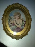 Ovális antik tűgoblein. Lány báránnyal.16x22 cm+ 5cm keret és paszpartu