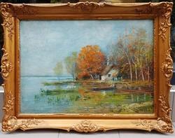 Horváth G. Andor (1876-1966) : Balatoni részlet, 50x70 cm.