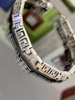 Gyönyörű, masszív, görög mintás ezüst karkötő