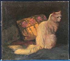 Heyer Arthur (1872-1931) Macska portré