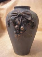 Bronzosított szecessziós rátétes gyönyörű váza ritkaság 20 cm-es