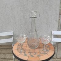 Dugós palack,boros , likörös , karaffa, csiszolt üveg szecessziós Art Deco,