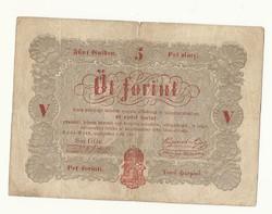 1848 as 5 forint Kossuth bankó papírpénz bankjegy 48 49 es szabadságharc pénze sor gg e