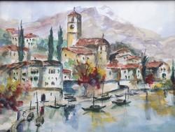 Meditarrán táj, szép akvarell