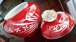 Közepes méretű Antik Esterházy mintás Ó Herendi porcelán bonbonier