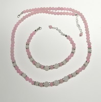 Termék neve:Ékszerek-szettek: Ásvány gyöngy szett, ezüstözött kapoccsal SSZEB-ÁS08 rózsa kvarc