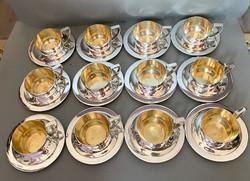 12 személyes ezüstözött kávés/teás készlet.