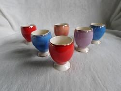 Régi színes, jelzett FS porcelán  pálinkáspohár vagy tojástartó 6 db