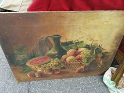 Hatalmas méretű antik festmény asztali csendélet