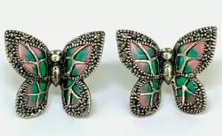 Csodás pillangó füli markazittal és tűzzománccal ezüst /925/ --új