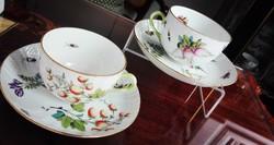 Ó Herendi Fruit Chantilly mintás porcelán teáscsészék párban