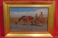Juszkó Béla (1877-1969) Beszélgető pásztorok - Gyönyörű régi olajfestmény keretezve (számlával)