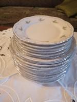 Zsolnay kék tollazott barackvirágos 18 részes tányérkészlet