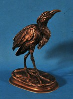 Bronz madárszobor, ismeretlen művész által jelölt