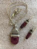 Kortárs magyar rubin köves ezüst medál lánccal és hozzávaló fülbevaló