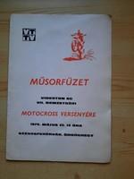 Műsorfüzet: VIDEOTON SC VII.NEMZETKÖZI MOTOCROSS VERSENY 1976.