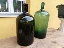 2 db régi zöld üveg