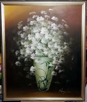 Csodálatos, attraktív,  fehér virágos csendélet( 50 x 60 ), gyönyörű keretben