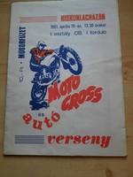 Műsorfüzet: MOTO CROSS és autó verseny KISKUNLACHÁZÁN 1981.