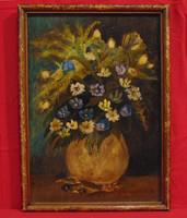 Grünwald B. jelzéssel - Mezei virágok agyagvázában - Olaj-falemez alkotás az 1920-30-as évekből