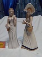 Porcelán hölgy figura, nipp - két darab együtt - sérültek