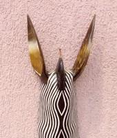 Óriás zebra maszk fali dombormű, faszobor, távol-keleti ritkaság.