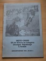Műsorfüzet: MOTO-CROSS 125 és 50 kcm-es kategória 1983.