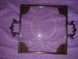 Metszett üveglapos, antik poháralátét, tálca