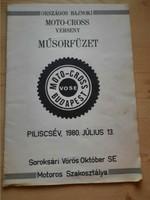 Műsorfüzet: ORSZÁGOS BAJNOKI MOTO-CROSS VERSENY PILISCSÉV 1980.