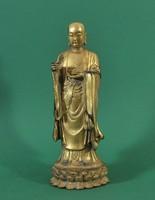 Antik aranyozott, bronz, buddhista szerzetes szobor, 18. század