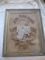 Régi  szent kép hímzett betűkkel , havasi gyopár rátéttel ,üveg alatt 31 x 41 cm  + ráma