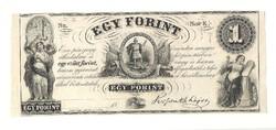 1852 egy forint Kossuth bankó papírpénz bankjegy amerikai kiadás sor e szabadságharc pénze 1 forint