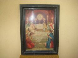 Régi papír nyomat   szent kép  34 x 51 cm  + ráma