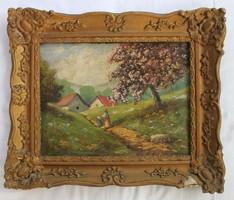 Tavaszi tájat ábrázoló festmény kisebb sérülésekkel
